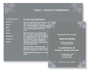 New email wedding invitation and wedding website designs