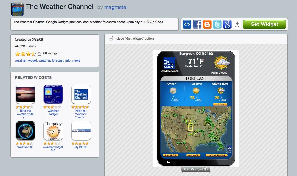 Weather Channel Widget