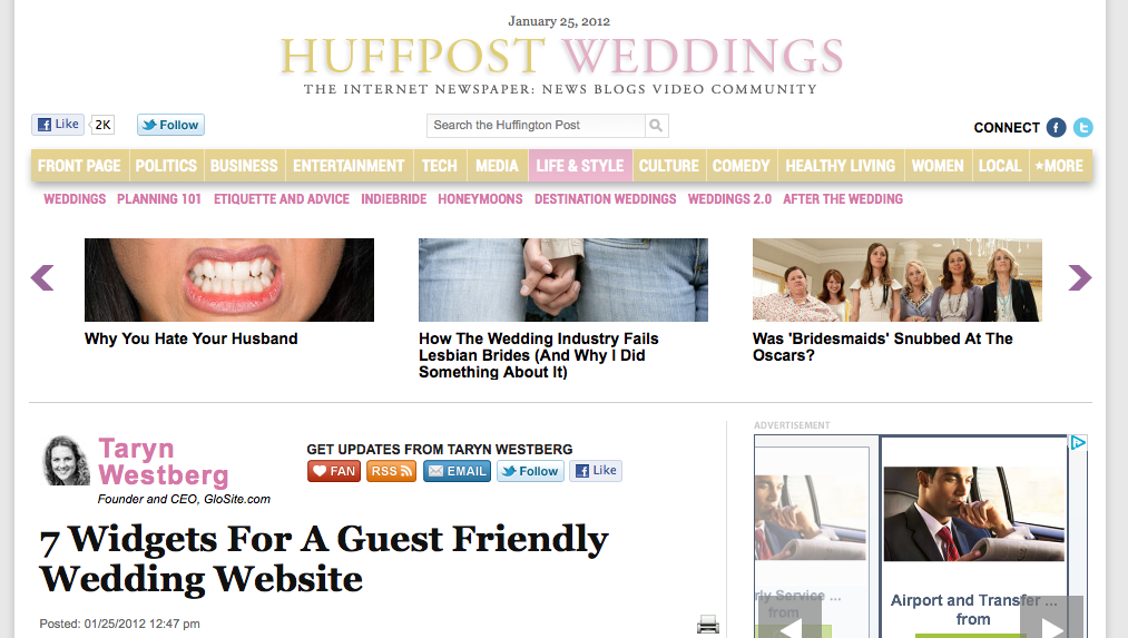 Huffington Post - 7 Widgets for a Guest Friendly Wedding Website