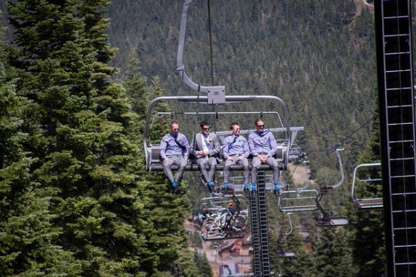 groomsmen on gondola