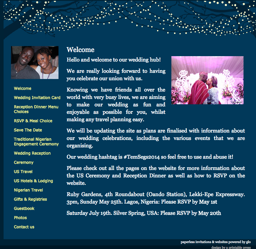 0 glosite wedding website