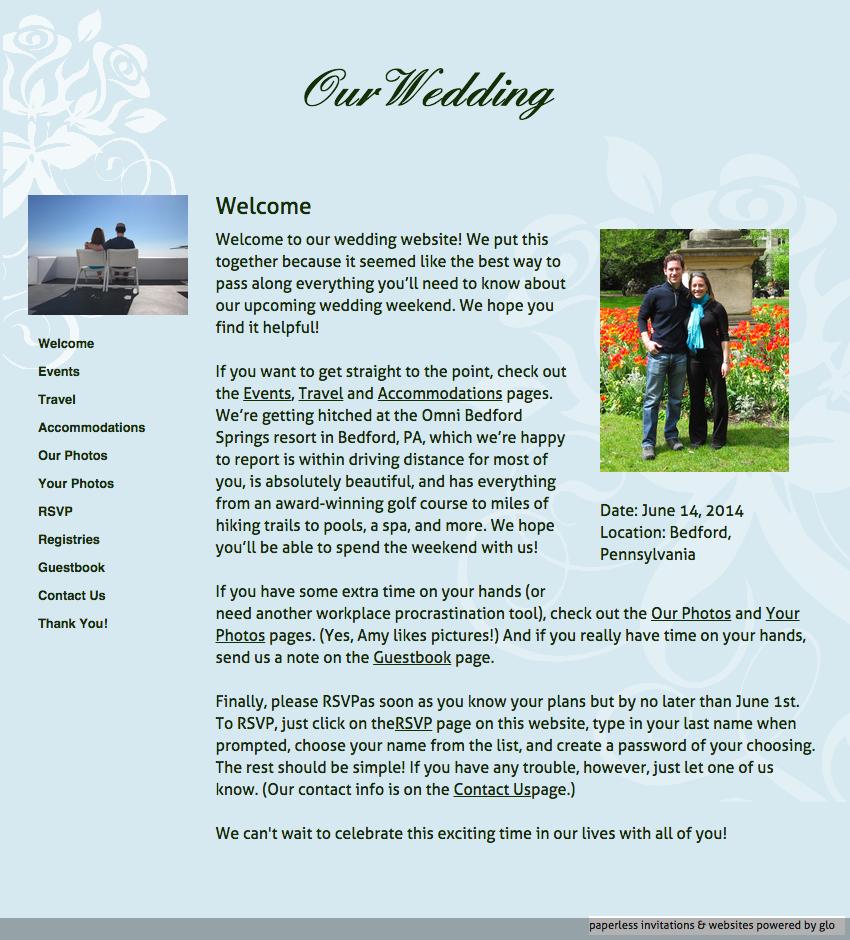 glosite wedding website