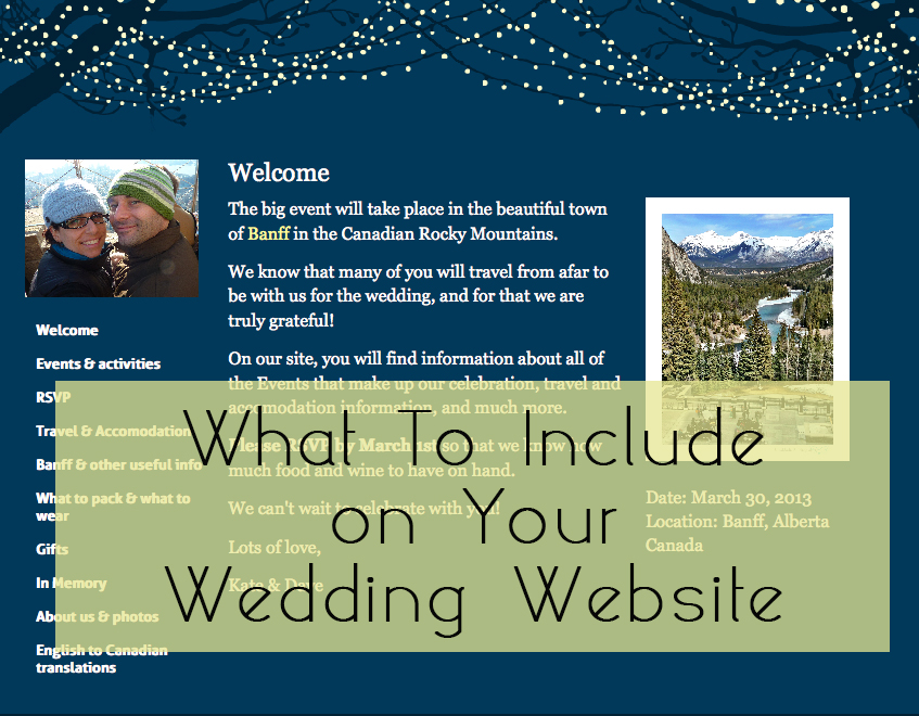 glosite what to include on wedding website