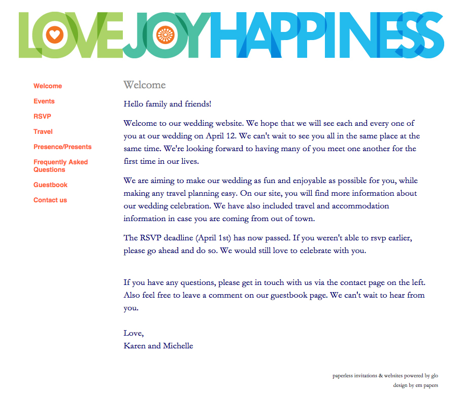 0 glosite wedding website example welcome page