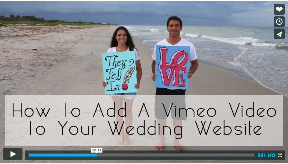 glosite how to add a vimeo video to your wedding website