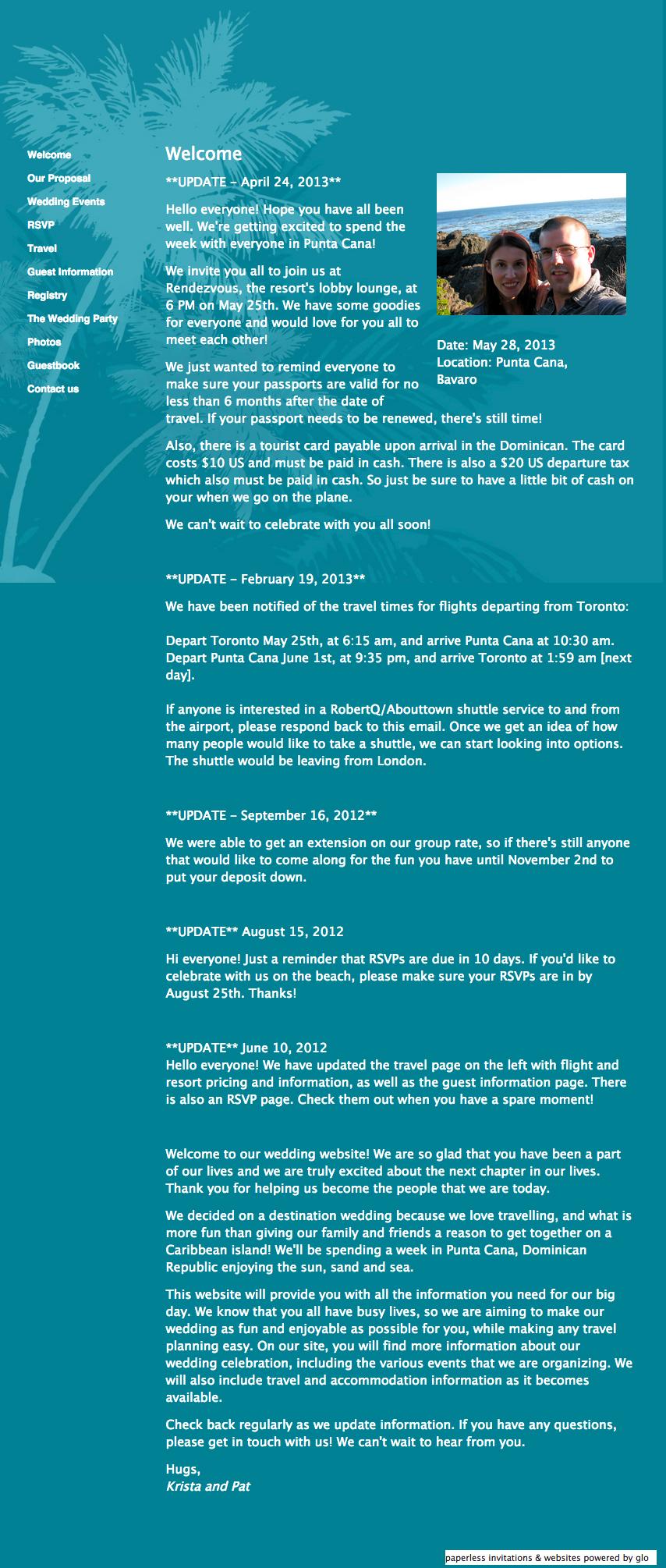 glosite wedding website welcome copy