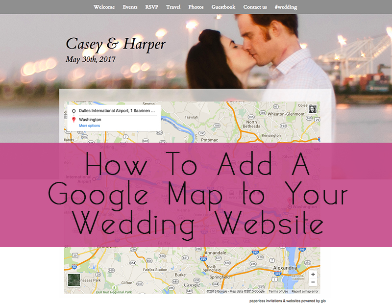 Glosite how to add a google map wedding website