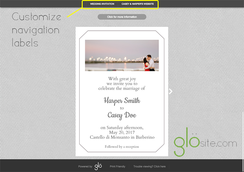 glosite email wedding invitation label