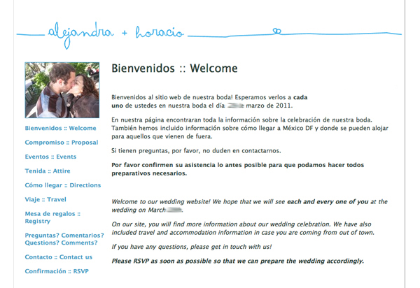 glosite wedding website dual language