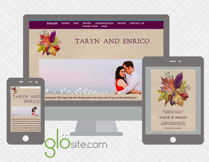 glosite wedding website email wedding invitation design template