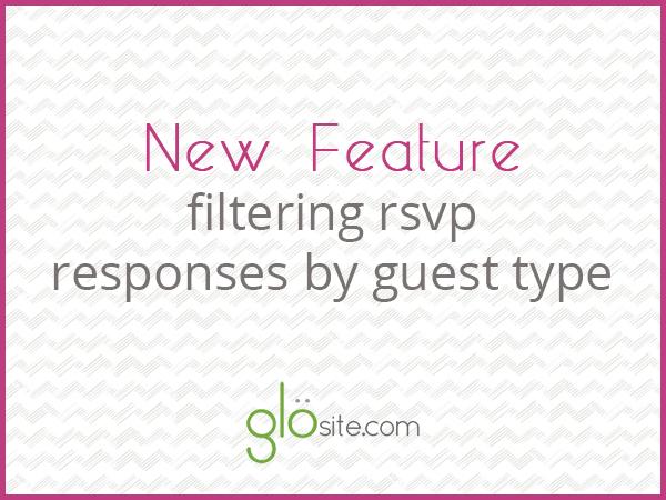 glosite online wedding rsvp filter feature