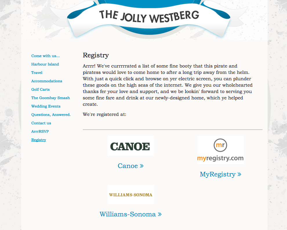 wedding website registry page
